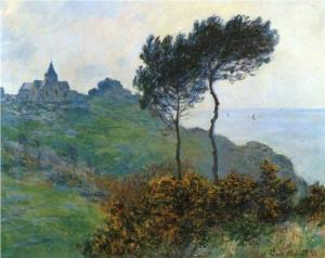 Claude Monet's 1882: The Church at Varengaville, Grey Weather, photo credit  Wikipaintings