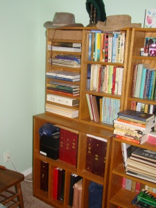 Dad built these bookshelves at Mom's request